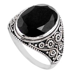 925 sterling silver 6.57cts natural black onyx oval solitaire ring size 7 r54633