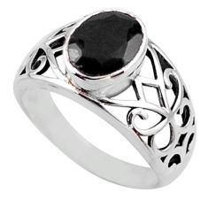 925 sterling silver 3.13cts natural black onyx oval solitaire ring size 8 r54664