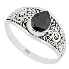 925 silver 1.45cts natural black onyx pear graduation handmade ring size 7 t9489