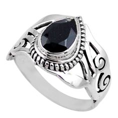925 sterling silver 2.33cts natural black onyx pear solitaire ring size 8 r54656