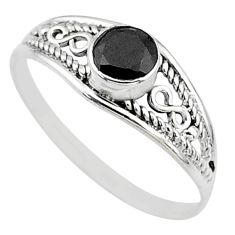 Silver 0.81cts natural black onyx round graduation handmade ring size 7 t9759