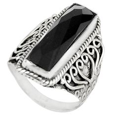 925 sterling silver 6.67cts natural black onyx solitaire ring size 7 r21364