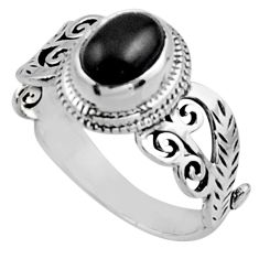 925 sterling silver 2.02cts natural black onyx solitaire ring size 8 r54474