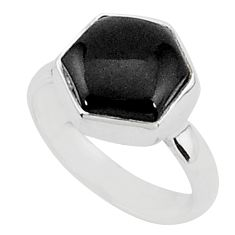 925 sterling silver 5.55cts natural black onyx solitaire ring size 8 r96848