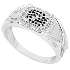 925 sterling silver natural black onyx white topaz ring jewelry size 10 c20599