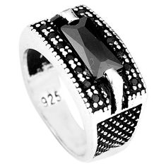 925 sterling silver natural black topaz mens ring jewelry size 7 c11388