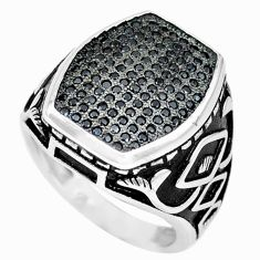 925 sterling silver natural black topaz round mens ring jewelry size 8 c26166