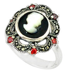 925 sterling silver natural blister pearl black onyx ring size 7.5 c18648