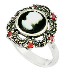 925 sterling silver natural blister pearl black onyx ring size 7.5 c18660