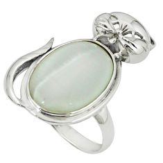 925 sterling silver natural blister pearl cat ring jewelry size 9 c23689