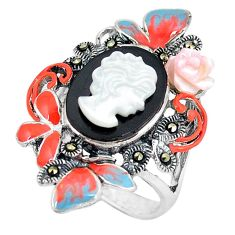 925 sterling silver natural blister pearl marcasite enamel ring size 7.5 c21496