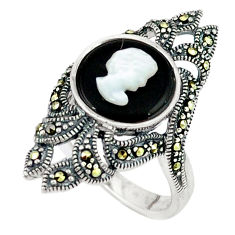 925 sterling silver natural blister pearl onyx ring jewelry size 7.5 c18652