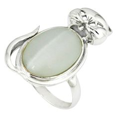925 sterling silver natural blister pearl oval cat ring jewelry size 9 c23685