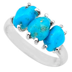 925 sterling silver 9.18cts natural blue 3stone raw turquoise ring size 9 t14996