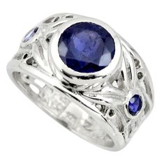 925 sterling silver 3.44cts natural blue iolite ring jewelry size 6.5 r25774
