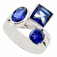925 sterling silver 6.72cts natural blue iolite ring jewelry size 7 d46409