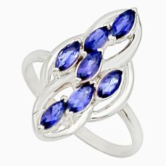 925 sterling silver 2.61cts natural blue iolite ring jewelry size 8 r25759