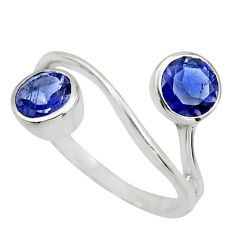 925 sterling silver 2.61cts natural blue iolite round ring jewelry size 6 r25440