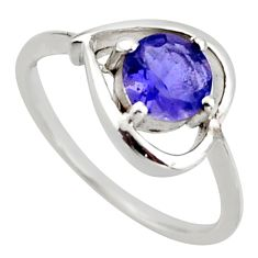 925 sterling silver 1.24cts natural blue iolite round ring jewelry size 9 d46372
