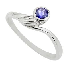 925 sterling silver 0.64cts natural blue iolite solitaire ring size 5.5 r25580