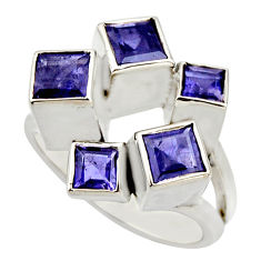 925 sterling silver 4.60cts natural blue iolite square shape ring size 9 r25700