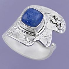 925 sterling silver 3.51cts natural blue kyanite adjustable ring size 7.5 r54869