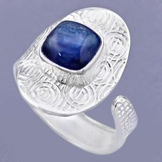 925 sterling silver 3.39cts natural blue kyanite adjustable ring size 8 r54704
