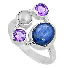925 sterling silver 6.33cts natural blue kyanite amethyst ring size 8.5 r57592