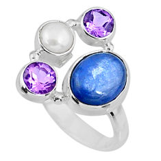 925 sterling silver 5.83cts natural blue kyanite amethyst ring size 7.5 r57627