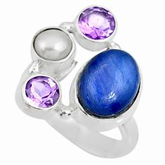925 sterling silver 7.23cts natural blue kyanite amethyst ring size 10 r57604