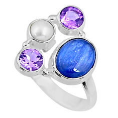 925 sterling silver 6.36cts natural blue kyanite amethyst ring size 8 r57547