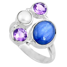 925 sterling silver 6.02cts natural blue kyanite amethyst ring size 8 r57624