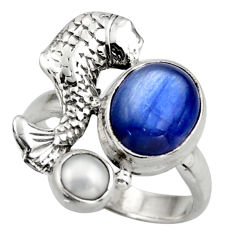 925 sterling silver 5.30cts natural blue kyanite pearl fish ring size 6.5 d46080