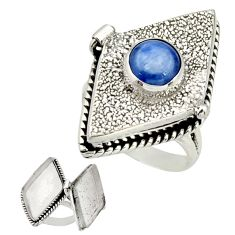 925 sterling silver 3.16cts natural blue kyanite poison box ring size 8 r26691