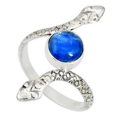 925 sterling silver 3.50cts natural blue kyanite round snake ring size 10 r78691