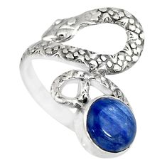 925 sterling silver 3.10cts natural blue kyanite round snake ring size 6 r82583