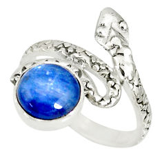 925 sterling silver 3.50cts natural blue kyanite round snake ring size 7 r78652