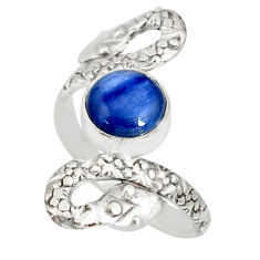 925 sterling silver 3.19cts natural blue kyanite round snake ring size 8 r78797