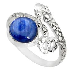 925 sterling silver 3.12cts natural blue kyanite round snake ring size 8 r82586