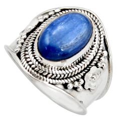 925 sterling silver 4.38cts natural blue kyanite solitaire ring size 7.5 d46459