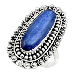 925 sterling silver 6.39cts natural blue kyanite solitaire ring size 7.5 r47288