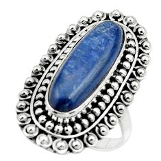 925 sterling silver 6.50cts natural blue kyanite solitaire ring size 8.5 r47296
