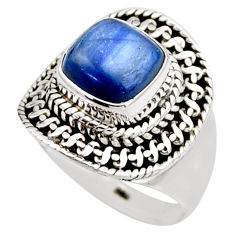 925 sterling silver 3.32cts natural blue kyanite solitaire ring size 6.5 r53431