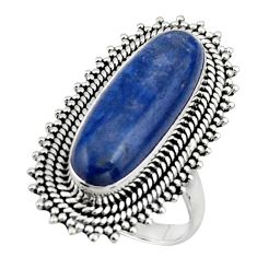 925 sterling silver 6.87cts natural blue kyanite solitaire ring size 7 r47284