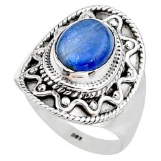925 sterling silver 2.93cts natural blue kyanite solitaire ring size 7 t15904