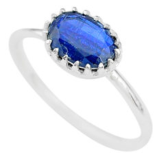 925 sterling silver 2.28cts natural blue kyanite solitaire ring size 7 t8148