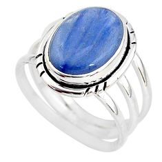 925 sterling silver 6.59cts natural blue kyanite solitaire ring size 8.5 t2464