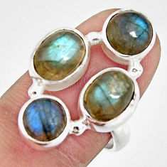 925 sterling silver 6.76cts natural blue labradorite oval ring size 7.5 r21144