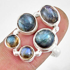 925 sterling silver 7.10cts natural blue labradorite oval ring size 8.5 r21158