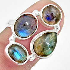 925 sterling silver 8.93cts natural blue labradorite oval ring size 6.5 r21184